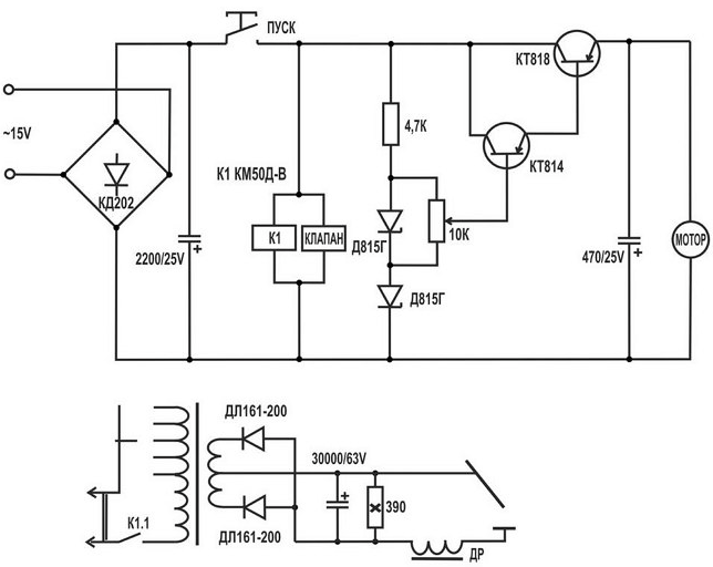 Электрическая схема самодельного устройства