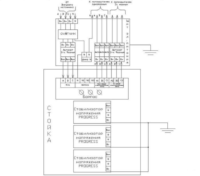 Схема трехвазного стабилизатора напряжения