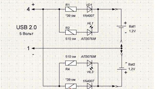схема для пары аккумуляторов